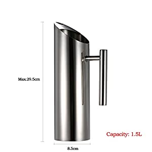 Stainless Steel Water Pitcher Cold Drink Juice Pot with Ice Guard water tea pot kettle jug pitcher household : 1.5L Large Capacity