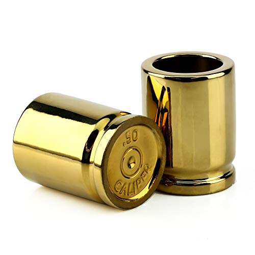 Barbuzzo 50 Caliber Shot Glass - Set of 2 Shot Glasses Shaped like Bullet Casings - Step up to the Bar, Line 'Em Up, and Take Your Best Shot - -