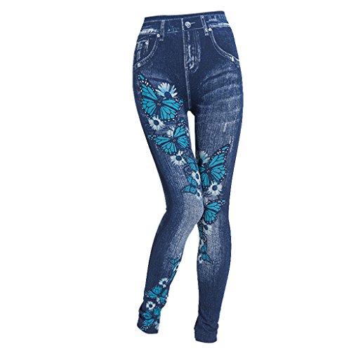 Donna Pantaloni Pantaloni Blu Con Vita Baoblaze Denim Slim Slim Alta Slim Skinny EFInPndqf