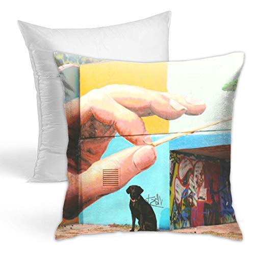 Osvbs Short-Coated Black Dog Sitting Near Wall Arts Personalized Creative Home Double-Sided Printed Cushion Decorative Pillowcase with Pillow Invisible Zipper 16.5