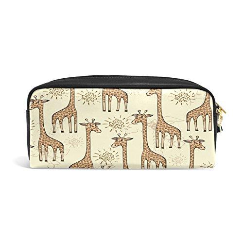 Bleistift Fall, Giraffe bedruckt Reise Make-up Pouch Large Wasserdicht Leder 2Fächer für Mädchen Jungen Damen Herren