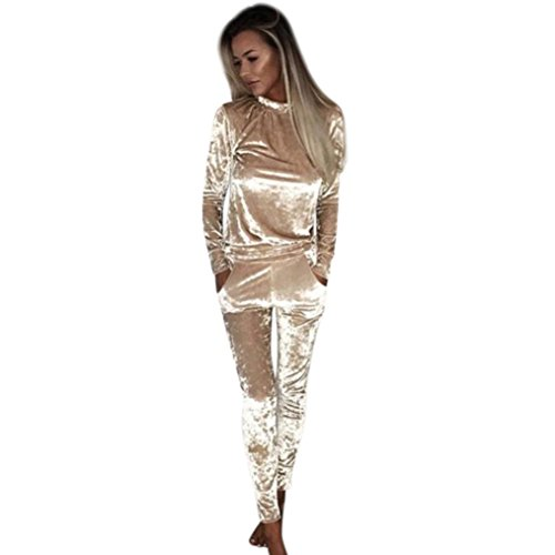 Elevin(TM)Women Casual Long Sleeved Round Neck Slim Velvet Jumpsuit Bodysuit (S, Khaki)