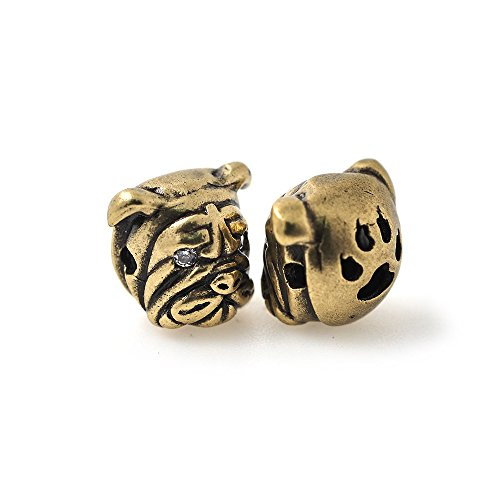(Bulldog Charm Bead Animal Head Beaded Supplies for Men Bracelet Spacer Beads Jewelry Making 13x11mm)