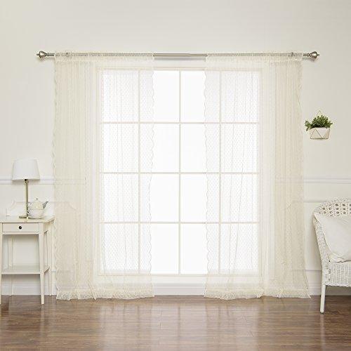 cquard Sheer Lace Lovely Dot Curtains - Rod Pocket - Ivory - 58