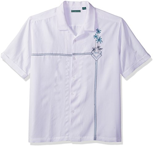 Short Sleeve Linen Camp Shirt - Cubavera Men's Short Sleeve Rayon-Blend L-Shape Embroidered Cuban Camp Shirt, Bright White, XX-Large