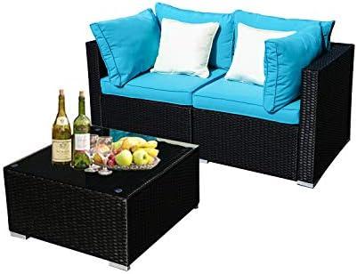 Wonlink 3 PCS Patio PE Rattan Wicker Sofa Sectional Furniture Set