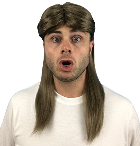 Brown Mullet Wig: Redneck Hillbilly Costume and 80s Rockstar Wig, Halloween Rocker Costume Wig for Men, Women and Kids (Rocker Mullet) -