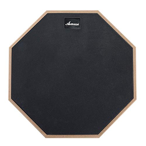 Asmuse Drum 2-Sided Practice Pad Rubber Surface Training Mute Silent Drum Pad 12 Inch(12 Inch Black)