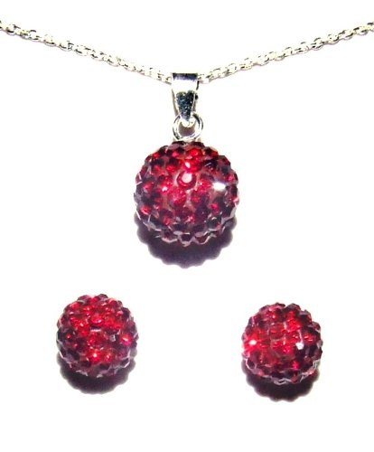 GIVE A GIFT WITH MEANING: Garnet, Birthstone for January  Sterling Silver  925 And Crystal 10mm Ball Necklace With 8mm Stud Earring Set