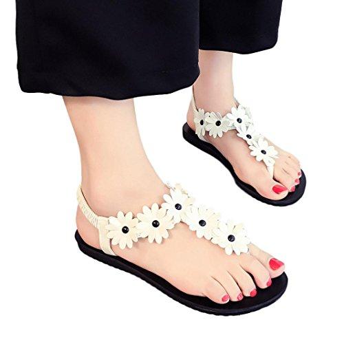 Price comparison product image Hemlock Women Girl's Bohemia Sandals Elastic band Flat Sandals Shoes (US:7.5,  White)