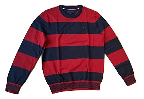 Tommy Hilfiger Men's Long Sleeve Thick Stripe Crew Neck Sweater (L, - Tommy Hilfiger Sweater Stripe