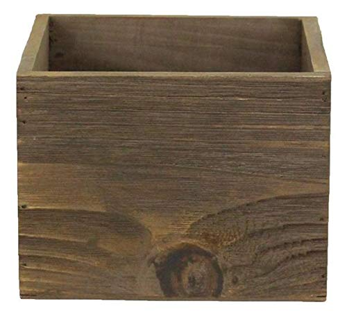 Wood Planter Box 6 Inch Square (4.5 Inches Height) Wooden Box, Garden Centerpiece Display, Wedding Flowers Holder, Rustic Barn Wood (Brown/Brown ()