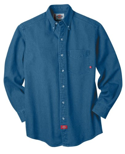 Dickies Men's Long Sleeve Denim Work Shirt, Stone Washed, X-Large