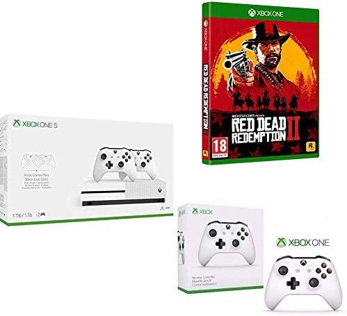 Microsoft Xbox One S - Consola 1 TB + 2 Mandos a Distancia + Red Dead Redemption 2 (Xbox One) + Microsoft Xbox Wireless Controller Blanco Gamepad PC, Xbox One S - Volante/mando: Amazon.es: Videojuegos
