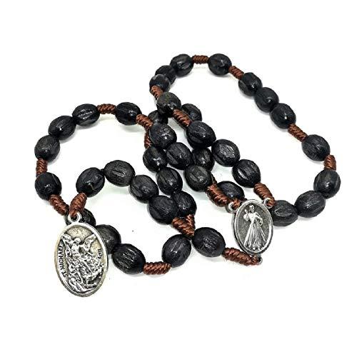 MedjugorjeStoneGifts St Michael Chaplet Crown of Saint Michael Archangel Pendant Charm Catholic Rosary Prayer Beads (Black) (Prayer To St Michael After The Rosary)