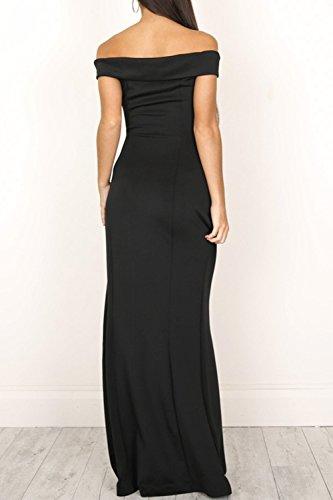 La Mujer Elegante Strapless Off Shoulder Backless Vestido Monocolor Corte Largo Black