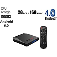 M96X Max Android 6.0 Smart Tv Box 2GB Ram 16GB ROM Quad Core 4K Amlogic S905x High Speed Processor 64 bits Ultra HD 1080p True 4K Playing support Wifi Bluetooth with AV Port HDMI