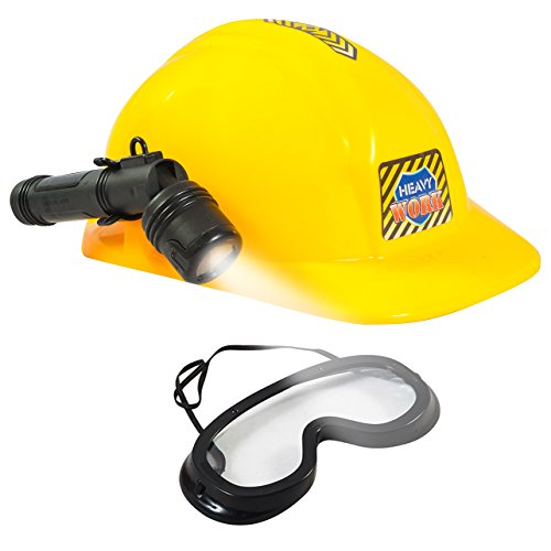 [Construction Hat - Dress Up for Kids & Adults - Miner Hat w/ Light & Goggles by Funny Party Hats] (Man Construction Worker Costume)