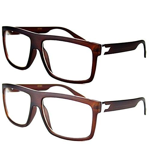 Newbee Fashion Popular Unisex Flat Top Square Big Thick Frame Clear Lens Eye - Eyeglasses Popular Mens