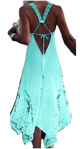 Jaycargogo Green Irregular Women's up Summer Dresses Lace Lace Backless Sleeveless HxFHndqwrz