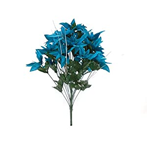 JumpingLight Turquoise Christmas Poinsettia Bush 24 Artificial Silk Flowers 24'' Bouquet 030TQ Artificial Flowers Wedding Party Centerpieces Arrangements Bouquets Supplies 95
