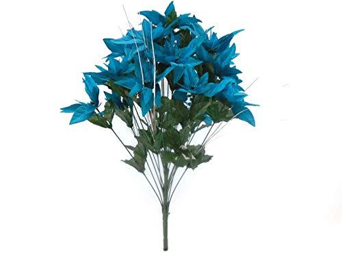 24' Silk Calla Lily - JumpingLight Turquoise Christmas Poinsettia Bush 24 Artificial Silk Flowers 24'' Bouquet 030TQ Artificial Flowers Wedding Party Centerpieces Arrangements Bouquets Supplies