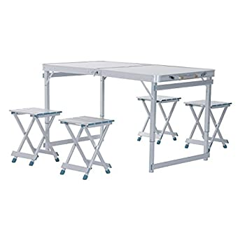 Outsunny 4 Portable Folding Outdoor Picnic Table w/ 4 Seats - Silver