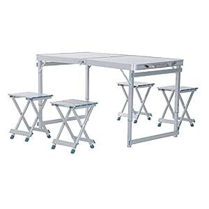 Outsunny 4' Portable Folding Outdoor Picnic Table w/ 4 Seats - Silver