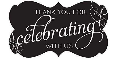 Fancy Frame Thank You Stickers Wedding Favors Set of 54 (Black)