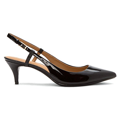 Calvin Klein Womens Luka Leather Pointed Toe Slingback, Black Patent, Size 5.5