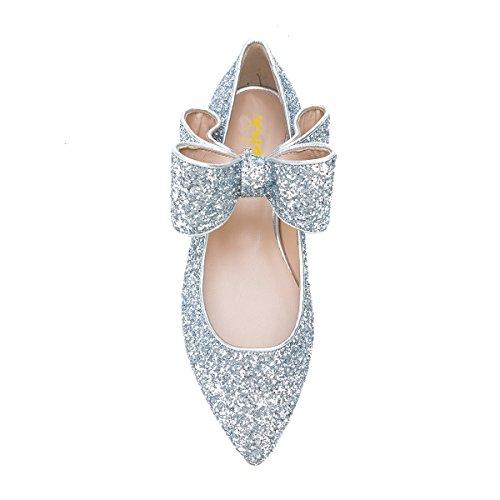 f4f4653232 ... Xyd Classique Femmes Ballet Bowknot Mary Jane Élastique Unique Sangle  Mocassins Plats Chaussures De Danse Argent ...