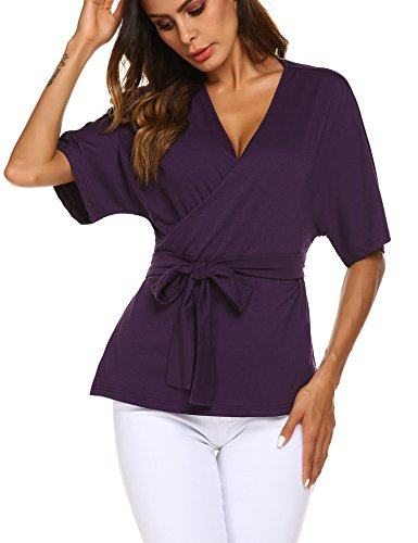 Womens Casual V Neck Belted Wrap Tunic Self Tie Front Blouse Shirts Tops Purple,L ()