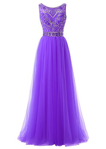 Dresses Party for Tulle Women Evening Neck Callmelady Prom Long Violet High SwpxazcqRX