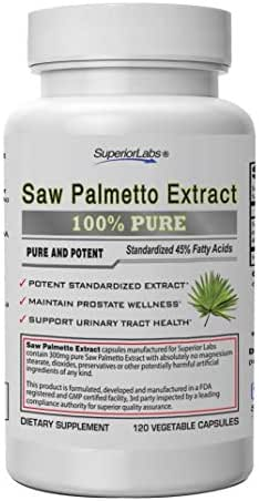 Superior Labs — Saw Palmetto Extract NonGMO, Non Synthetic— 300 mg Dosage, 120 Vegetable Capsules — Supports Urinary Tract Flow & Frequency