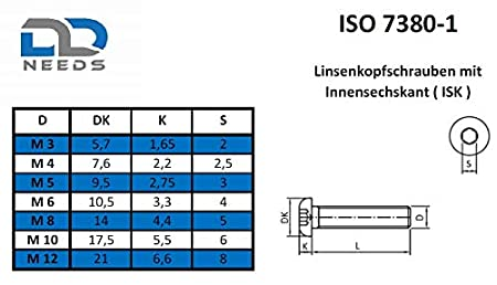 Lot de 10 vis /à t/ête plate ISK ISO 7380-1 Acier inoxydable A2 V2A