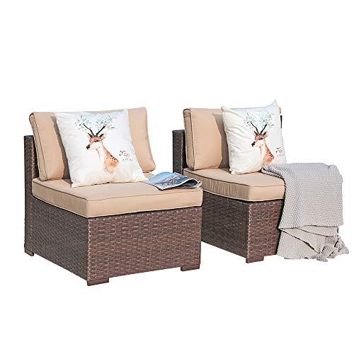 Patiorama Outdoor Loveseat, Brown Wicker Patio Loveseat with Beige Cushion