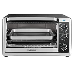 BLACK+DECKER TO1660B 6-Slice Convection Countertop Toaster Oven, Includes Bake Pan, Broil Rack & Toasting Rack, Stainless Steel/Black Convection Toaster Oven