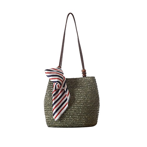 Flada Strap Tote match Shoulder Leather Straw Green Army Bags All Beach Classic Women Brown Bags Simple With Summer gqFgr0p
