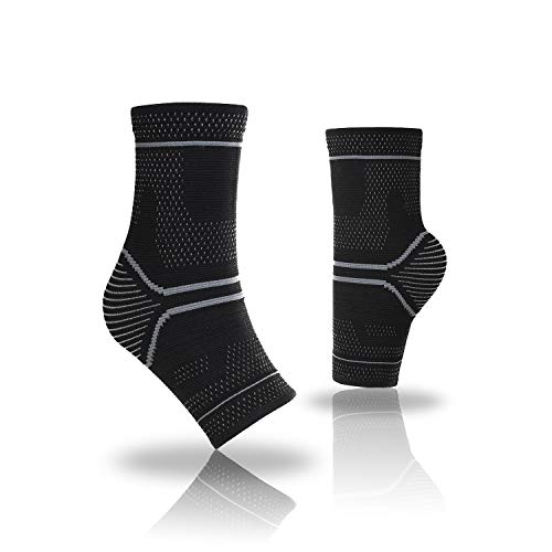 AndeKit Ankle Brace Support,Compression Sleeve(1PR)-relieves Plantar Fasciitis,Achilles tendonitis, sprained,Swelling.Foot Brace-Exercise,Sports,Gym,(M-Gray)