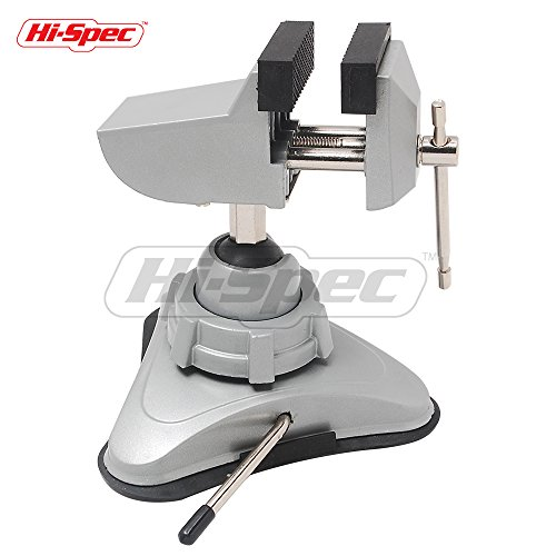 Hi-Spec Hobby Mini Vise with 360° Swiveling Head and Powerful Suction Mounting Mechanism and Soft Jaws for Craft, Model Building, Electronics, Jewelry Making and Metal Work Multi-Angle Table Vise (Vacuum Vise Base)