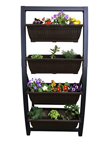 6 Ft Vertical Garden by Outland Living, Freestanding Raised Elevated Bed Planter, includes 4 28 L Bins for Indoor/Outdoor Use by Outland Living