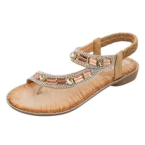 Mysky Fashion Women Summer Bohemian Casual Crystal Clip Toe Elastic Band Sandals Beige
