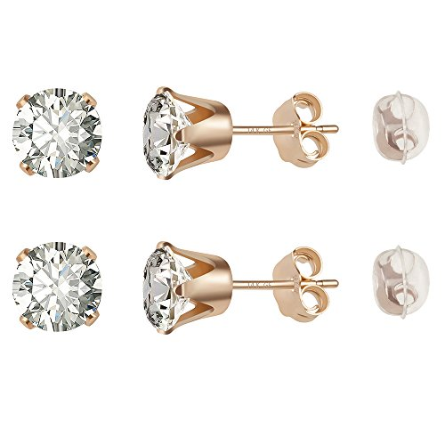 14K Gold Filled Stud Earrings Hypoallergenic Cubic Zirconia for Girls & Men's Ear Piercing (Size:6mm) by Poplar