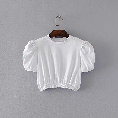 Xmy bulle manches courtes T-shirt coton femme dominatrice couleur uni taille haute col rond manches courtes T-girls code sont