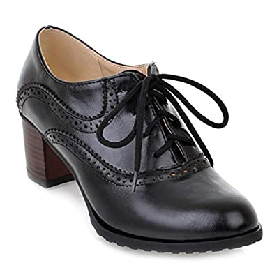 MIOKE Women's Vintage Pump Oxfords Brogues Lace Up Wingtip Perforated Chunky Mid Block Heel Dress Shoes