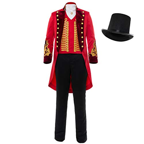 Adult Performance Uniform Showman Party Suit Circus Red Outfit Cosplay Costume ()