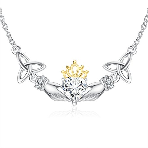 Sterling Silver Good Luck Celtic Knot Irish Claddagh Pendant Necklace