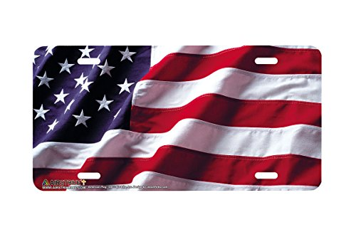 Airstrike American Flag License Plate Patriotic Front License Plate Made in USA (Made of Metal)-235 Decorative License Plate Tag