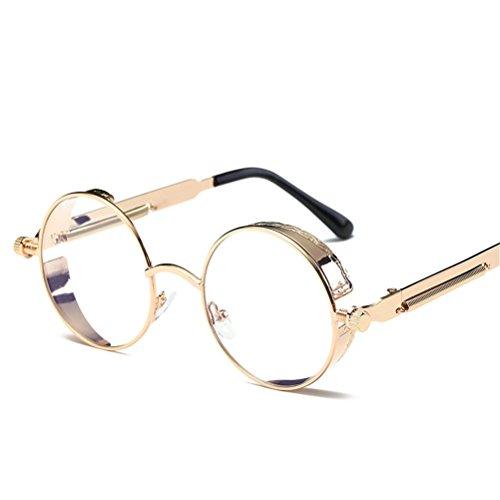 para redondas al gafas hombres sol de sol unisex Mujeres verano moda de viaje Gafas aire de Marcos de metal Transparente de Amantes deportivas de las Lente de Dorado libre UXzvTq8
