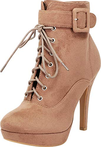 Cambridge Select Women's Wraparound Strap Buckle Lace-Up Platform Siletto High Heel Ankle Bootie,7 B(M) US,Taupe IMSU (Around Wrap Buckle)